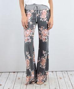 Charcoal Floral Wide-Leg Pants