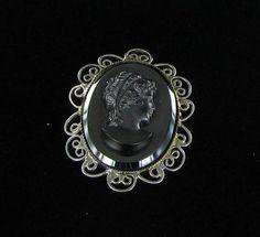 Vintage Black Glass Cameo With Filigree by vintagejewelrylane, $23.99