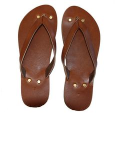 //Handmade leather flip flops