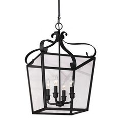 Lockheart Blacksmith Four Light Hall Foyer Pendant with Clear Glass