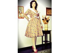 Hey, I found this really awesome Etsy listing at https://www.etsy.com/listing/123995890/1950s-party-dress-floral-50s-dress-50s