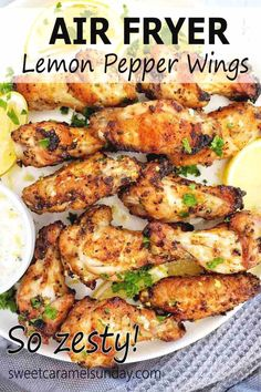 Lemon Pepper Air Fryer Chicken Wings have some serious zing! They are quick and easy to make and perfect as a snack, appetizer or dinner. Serve with lemon yogurt sauce for seriously amazing dunking! #airfryerrecipes #easyrecipes @sweetcaramelsunday Lunch Recipes, Easy Dinner Recipes, Easy Meals, Healthy Recipes, Sunday Recipes, Delicious Recipes, Easy Recipes, Dinner On A Budget, Budget Dinners