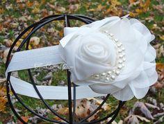 White Flower Headband - Snow White Chiffon Rose w/ Pearls Headband or Hair Clip - The Audrey - Baptism, Christening, Wedding, Girls Headban on Etsy, $13.69 CAD