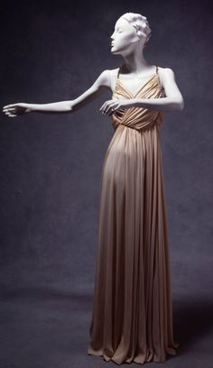 Evening Dress, Madeleine Vionnet (Paris, France): ca. 1930, silk jersey, jewelled straps.