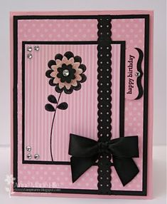 """Paper: Pretty in Pink DSP, Pretty in Pink, Basic Black and Whisper White card stock  Ink: Basic Black Craft ink and Versamark (for the punched, pink flower)  Accessories: Clear Embossing Powder, Iridescent Ice Embossing Powder, Basic Rhinestones, Basic Black 5/8"""" Satin ribbon, Boho Blossoms punch, Dotted Scallop Ribbon Border punch, Circle from Itty Bitty Punch pack (inside), Curly Label punch, Scallop Trim Border punch (inside) and Stampin' Dimensionals"""
