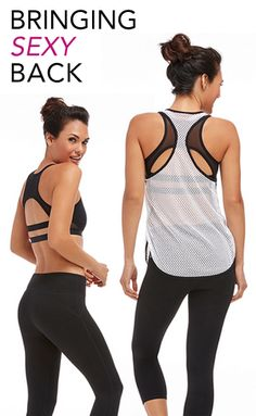 Shh! Don't tell your workout friends... This club basically gives you the best outfits to make you look your hottest while working out. This white mesh top + black bra combo looks sporty but sexy at the same time, obsessed! <3
