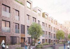 Karakusevic Carson Architects Brick Architecture, Residential Architecture, Architecture Details, Brick Rendering, Brick Detail, Modern Townhouse, Community Housing, Brick Facade, Social Housing
