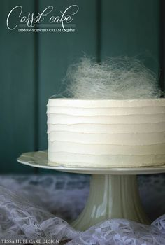 Carrot Cake with Spun Sugar Nest, lemon-scented cream cheese filling and whipped vanilla buttercream frosting