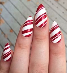 Candy cane nails! Achieve this look with RCM's Red Carpet Reddy and White Hot.  #RCMNailIt {image via #pinterest}