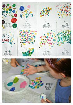 Kids Fingerprint Balloon & Bicycle Art