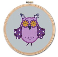 Pretty Owl,  Counted Cross stitch , Pattern PDF, Instant download. Cross stitch pattern . Includes easy beginner instructions.