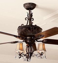 """Antoinette 3-Light 14"""" Aged Verde Crystal Ceiling Fan Light Kit with Silk Shades ECK898AV $184.45"""