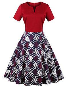 9c1a345e62a La Vogue Women 40s Vintage Dress Floral Hepburn Scallop Pleated Skater Dress  US14    Click