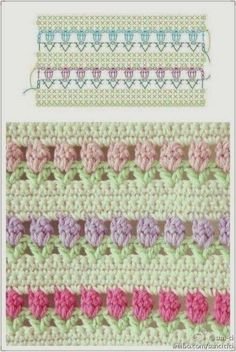 Nice stitch to add when making a stripy crochet afghan/blanket Beau Crochet, Knit Or Crochet, Crochet Crafts, Crochet Hooks, Crochet Projects, Crochet Motifs, Crochet Stitches Patterns, Stitch Patterns, Crochet Afghans