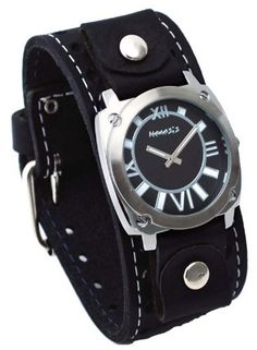 Nemesis #STH066K Men's Black Textured Dial Wide Leather Cuff Band Watch Nemesis. $39.97. Precise Japan Quartz Movement. Case Size:  41.5mm Diameter, 10mm Thickness. Stainless Steel Case Back, Genuine Wide Leather Strap. Mineral Crystal, Black Textured Dial. Save 33% Off!