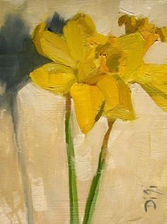 "Delicate Daffodils, 8""x6"", Amy DiGi Original Oil Painting - Happy the days are getting longer that means Spring is on the way . . . and so do the Daffodils :)"