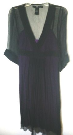 Bedo, purple and black, layered, gauzy, embroidered, sheer. S. Made in India