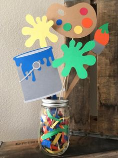 Excited to share this item from my shop: Art themed party centerpiece Kids Art Party, Kids Party Games, Party Fun, Art Birthday, Birthday Party Games, Painting For Kids, Art For Kids, Painting Party Kids, Kids Party Centerpieces