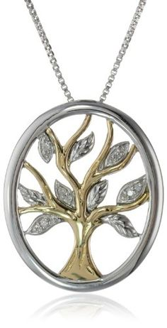 XPY Sterling Silver and 14k Yellow Gold Diamond Tree of Life Pendant Necklace (0.04 cttw, I-J Color, I2-I3 Clarity... for only $99.99 You save: $149.01 (60%)
