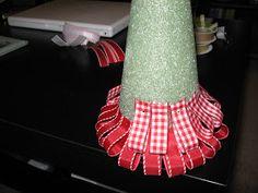 Sugar and Shimmer: Ribbon Christmas Tree Christmas Ribbon Crafts, Cone Christmas Trees, Ribbon On Christmas Tree, Handmade Christmas Decorations, Diy Christmas Ornaments, Xmas Tree, Christmas Projects, White Christmas, Christmas Lights