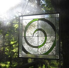 Green Spiral Stained Glass Panel