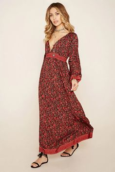 A woven maxi dress by R by Raga™ featuring an allover floral print, a deep V-neckline, a smocked waist, and long sleeves with smocked detailing and elasticized cuffs. #f21brandedshop