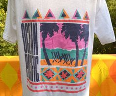 vintage 80s t-shirt OCEAN PACIFIC op mesh beach surf Large XL preppy california rainbow