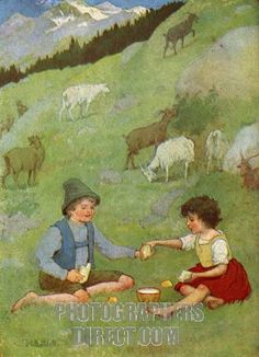 """Peter and Heidi """"She handed him the whole slice of bread.""""  Illustrator Maria L. Kirk."""