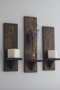 49 Amazing Corner Shelf Decorating Ideas to Beautify Your Corners - hdintex Unique Wall Decor, Home Decor Wall Art, Diy Home Decor, Diy Wall Decor, Vasos Vintage, Palette Deco, Diy Pallet Furniture, Modern Rustic Furniture, Live Edge Furniture