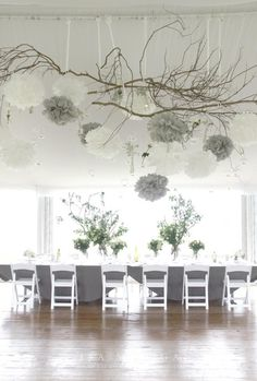 As you are planning to decorate your wedding, the ceiling is the last thing on your list. Wrong! Your ceiling is the perfect opportunity to change that blank canvas into a masterpiece work of art. Whether it's flowers, candles, lanterns, birdcages, or branches, the possibilities are endless! Look to Belle Magazine for inspiration for every type of bride. http://www.bellethemagazine.com/2012/07/hanging-wedding-decorations-part-3.html