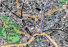 Hand-drawn Map of London by Jenni Sparks, via Behance
