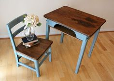 painted old school desk with Annie Sloan Blue Lagoon. Cute idea ...
