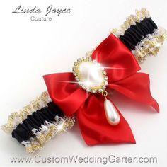 Black And Red WEDDING GARTER Pearl Bridal Garter 123 299 Gold Prom