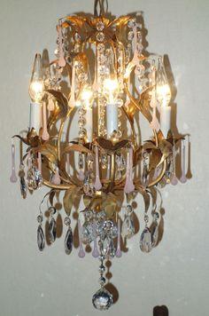 4lt Vintage Pink opaline gilt Tole hanging lamp chandelier Italy beaded Brass lo