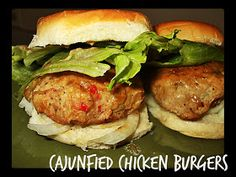 I have never used ground chicken before and needed to experiment with it. I had bought this Cajun Seasoning when I was in Charleston S. Cajun Chicken Burger, Ground Chicken Burgers, Cajun Recipes, Chicken Recipes, Cajun Food, Chicken Patties, Cajun Seasoning, Southern Recipes, Southern Food