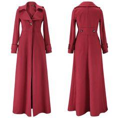 Turn-down Collar Woolen Slim Full Length Coat - Meet Yours Fashion - 9