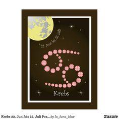 Juni, Zodiac, Poster, Cards, La Luna, June 22, Astrology Signs, Postcards, Map