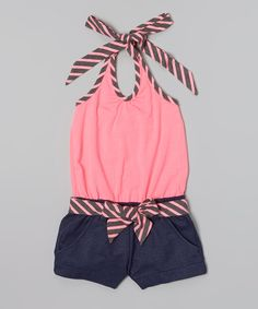 Pink Stripe Belted Halter Romper - Toddler & Girls