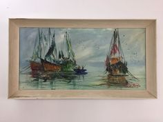 Mid Century Terry Burke Original Impressionist Abstract Oil Painting