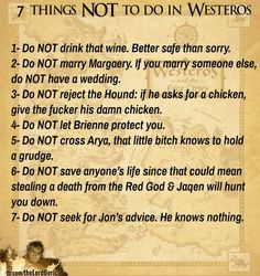 7 things NOT to do in Westeros