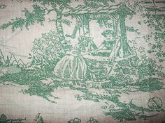 Antique Toile Fabric American Historical by ArtsyChikVintage, $40.00