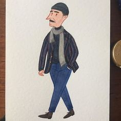 like his mustache! #pittiuomo #mensfashion #menswear #fashionillustration #streetstyle #streetfashion #stripedblazer