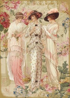 three ladies in pink. http://es.pinterest.com/pin/492862752943440024/: Vintage print; this would be a great basis for a painting, art nouveau style maybe