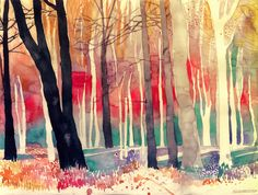 A painting by Maja Wronska. http://illusion.scene360.com/news-community/woods/ #art #painting #rainbow #trees #color #nature