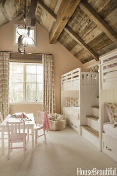 Go to Bunk Bed, House Beautiful, girl's room, Matt O'Dorisio, Pottery Barn bunk beds, linen curtains, mountain house