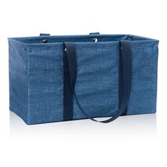 Whenever I have kids I want them to have a bag like this with their name on it.  Large Utility Tote in Blue Crosshatch for $35 - You'll be amazed at how much this classic tote can hold. The structured metal frame keeps it open for bulky items and provides strength for durability. Use it to keep your closet in order, carry toys or groceries while you're on the go, haul camping gear and so much more. It even collapses for easy storage! Via @thirtyonegifts