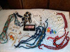 Lot Vintage & New Bead Necklaces, Disney, Tanya C. Cat, Glasses, Opal, CZ Rings