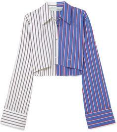 Off-White Cropped Striped Cotton-poplin Shirt