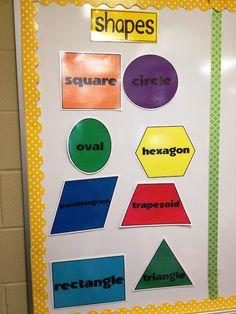 Wall titles and Shapes apple bulletin board, caterpillars, ice cream cone shapes, turnstall's teaching tidbits Toddler Classroom, Toddler Learning, Math Classroom, Classroom Organization, Classroom Ideas, Math Teacher, Preschool At Home, Preschool Classroom, Kindergarten Math