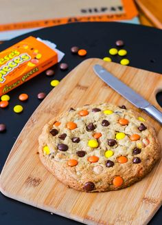 Giant Reese's Pieces Peanut Butter Cookie for 1    http://sallysbakingaddiction.com/2011/12/17/giant-reeses-pieces-peanut-butter-cookie/